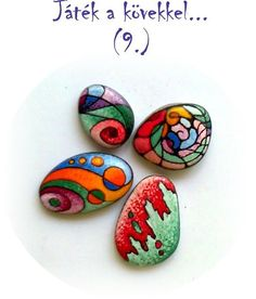 Abstract on stone Pebble Painting, Dot Painting, Pebble Art, Stone Painting, Stone Crafts, Rock Crafts, Arts And Crafts, Pebble Stone, Stone Art