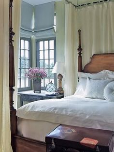 Blue & Cream Bedroom, an updated modern English style bedroom