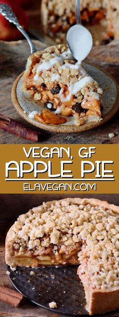 This vegan apple pie with streusel is the perfect fall/winter dessert. It will make your kitchen smell like heaven and sweeten up your day. The recipe is vegan, gluten-free, can be made nut-free and refined sugar-free. Vegan Dessert Recipes, Gluten Free Desserts, Gourmet Recipes, Gluten Free Recipes, Pie Recipes, Vegan Pie, Vegan Foods, Vegan Dishes, Waffel Vegan