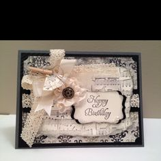 My Homemade Vintage music notes card using Stampin'Up! products.  www.lovetocreate.stampinup.net