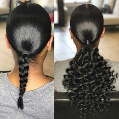 Half wigs are a great way to add volume and length to your natural hair in an instance. Half wigs are very versatile with clip ins and sew ins. Weave Ponytail Hairstyles, Ponytail Styles, Curly Hair Styles, Curly Ponytail Weave, Beehive Hairstyles, Black Hairstyles, Ponytail Ideas, Protective Hairstyles, Natural Hair Ponytail