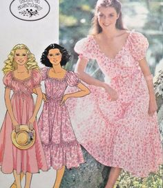 Dress Pattern McCalls 6121 Laura Ashley Puff Sleeve Wrap Dress with Ruffles Womens Vintage Sewing Pattern Bust 36 - 38 Uncut Vintage Sewing Patterns, Clothing Patterns, Dress Patterns, Apron Patterns, 1970s Dresses, Vintage Dresses, Vintage Outfits, Laura Ashley Patterns, 70s Fashion