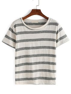Round Neck Thick Stripe T-shirt