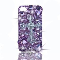Amazon.com: BLING Iridescent 3d Handmade Swarovski & Czech Crystal Cross Case with HUGE Bling Gems for Iphone 4/4s by Jersey Bling (Pink): Cell Phones & Accessories