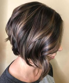 Shiny Brunette Bob with Curled Ends