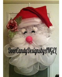 Deco-Mesh & Burlap Santa Wreath | CraftOutlet.com Photo Contest -Door Candy Designs