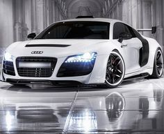 Audi R8 parked indoors on a lovely polished floor