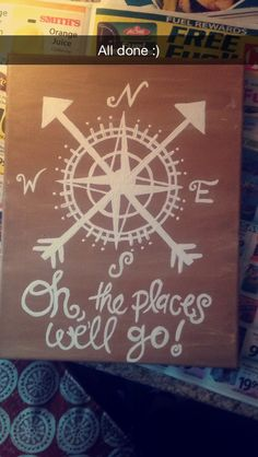 """""""oh the places we'll go!"""" travel, compass canvas"""