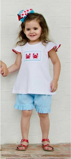 Girls Smocked Crab T-Shirt and Shorts Set from Smocked Auctions