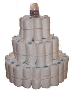 Step by step diaper cake instructions with photos to show you how to make the perfect diaper cake!
