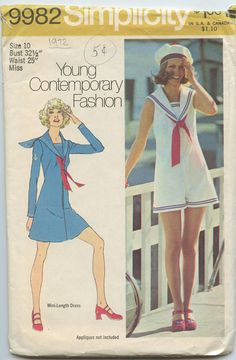 1970's Simplicity 9982 Misses's Mini Dress and Pantdress with Sailor Collar Bust 32