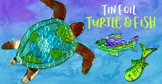 This tin foil sea turtle and fish collage was a huge hit with my third grade class. The kids loved how the sea turtle and fish looked, swimming in the glittery waters. WANT A DRAWING GUIDE? CLICK HERE OR THE IMAGE BELOW & WE WILL EMAIL IT TO YOU…. HERE'S HOW https://d11vly3u9uru85.cloudfront.net/promo/Foil+Fish.mp4   CREATING THE …