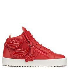 Giuseppe Zanotti Mid Tops - CRUEL - Women's Red Sneakers