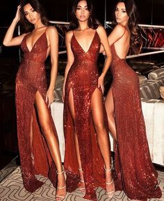 Sequin Maxi Dress Prom Dress with Slits deep v-neck party dress shinning evening dress Pailletten Maxikleid Mantel V-Ausschnitt Partykleid Straps Prom Dresses, Open Back Prom Dresses, Backless Prom Dresses, Formal Evening Dresses, Elegant Dresses, Pretty Dresses, Sexy Dresses, Long Dresses, Dress Formal