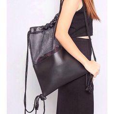 7d8beb1cf963 Black Mesh Leather Drawstring Bag handmade with high quality PU leather…