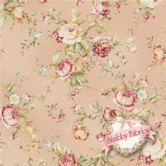 """Mary Rose Collection Amelia -  2170-15B By Quilt Gate Fabrics: Mary Rose Amelia is a collection by Quilt Gate Fabrics.  100% cotton.  43""""/44"""" wide.  This fabric features pink and cream rose bouquets on a light pink background."""