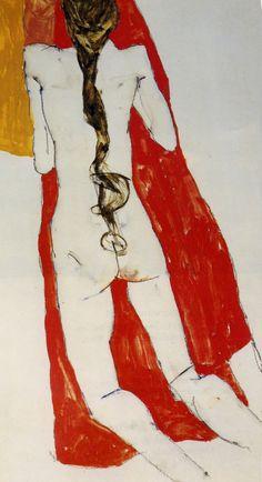 Egon Schiele - Kneeling Nude Female Black 1913 - Gouache Watercolor Pencil on Paper drawing Gustav Klimt, Figure Painting, Figure Drawing, Painting & Drawing, Paper Drawing, Egon Schiele Drawings, Amedeo Modigliani, Edvard Munch, Gravure