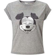 Miss Selfridge Mickey Tee (€36) ❤ liked on Polyvore featuring tops, t-shirts, shirts, disney, blusas, mid grey, glitter shirt, gray shirt, gray tees and short sleeve tops