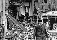 Kaitcer's antiques shop, Dublin Road, Belfast, N Ireland, after Provisional IRA bomb exploded in the premises. The shop's owner, Leonard Kai...