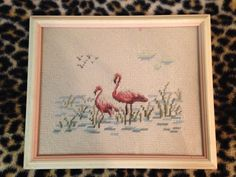 Vintage Pink Flamingoes Needlepoint Framed Wall Art Picture Divine by LipstickLounge on Etsy
