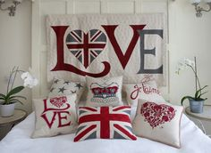 Jan Constantine *** Embroidered Cushions *** Embroidery, Union Jack, Gifts, Books, China |