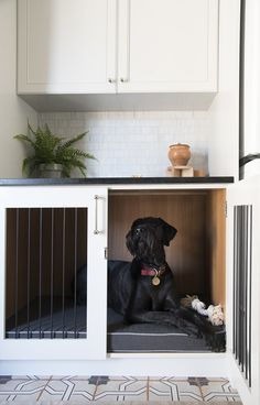 Integrated Dog Crate in Custom Cabinetry in the Laundry Room