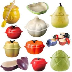 Le Creuset - Honey Fruits and Vegetables. Have had my eye on the pear for awhile...