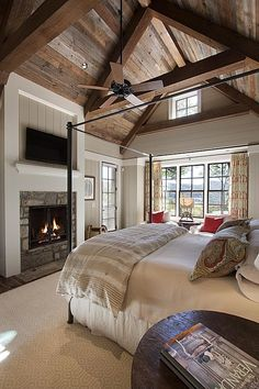 View this Great Country Master Bedroom with stone fireplace & Carpet by Morgan-Keefe Builders. Discover & browse thousands of other home design ideas on Zillow Digs. Country Master Bedroom, Dream Bedroom, Home Bedroom, Bedroom Decor, Bedroom Ideas, Bedroom Ceiling, Master Bedrooms, Bedroom Fireplace, Farm Bedroom