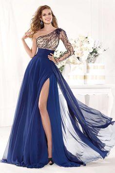 Encontrar Más Vestidos de Gala Información acerca de Vestido De Festa azul  marino gasa manga larga