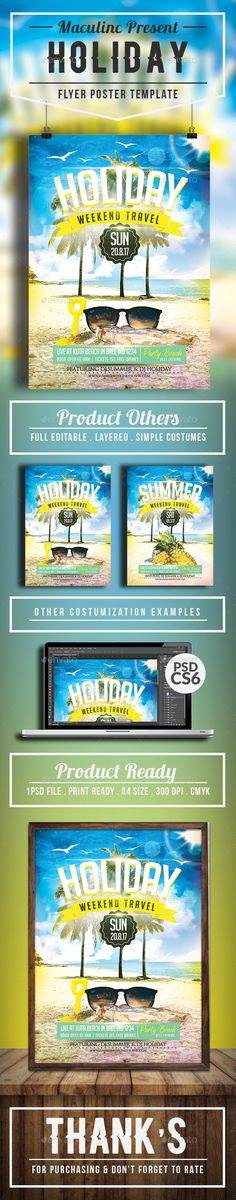 Summer Vacation Party Flyer Template  FontsLogosIcons