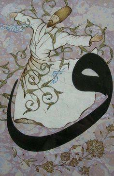 semazen ve vav Persian Calligraphy, Islamic Art Calligraphy, Whirling Dervish, Arabian Art, Turkish Art, Oriental, Tile Art, Painting & Drawing, Drawings