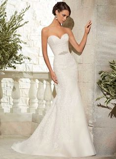 Trumpet/Mermaid Strapless Sweetheart Sweep Train Beading Appliques Lace Organza Covered Button Strapless Sleeveless Church Garden / Outdoor Reception General No Winter Spring Fall Ivory Wedding Dress