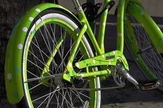 because everyone should have a green polka dot bike... by stevehdc, via Flickr