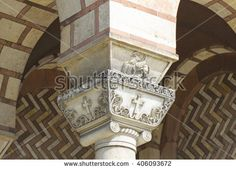 Pillars of the church of St. Mark in Belgrade close up view 1 - stock photo