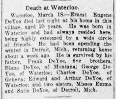Genealogical Gems: Sunday's Obituary: Ernest Eugene DeYoe