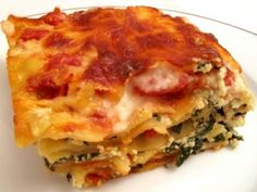 Vegan Spinach Lasagna (huge hit with the kids! added canned diced tomatoes with herbs to the tofu mix and veggies on the side. delicious!)