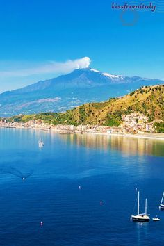 Aerial view of Taormina and Mount Etna - Sicily - Italy