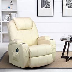 360 Degree Swivel Massage Recliner Leather Sofa Chair Ergonomic Lounge Swivel Heated with Control Creamywhite * You can get additional details at the image link.Note:It is affiliate link to Amazon.