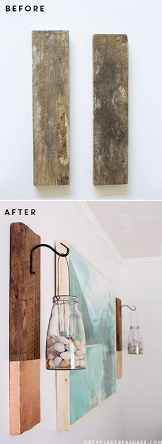 See how easy it is to create this vertical DIY Modern Rustic Wall Hanging from salvaged wood | http://upcycledtreasures.com