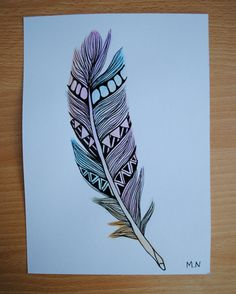 Original Watercolour feather Aztec. £9.00, via Etsy.