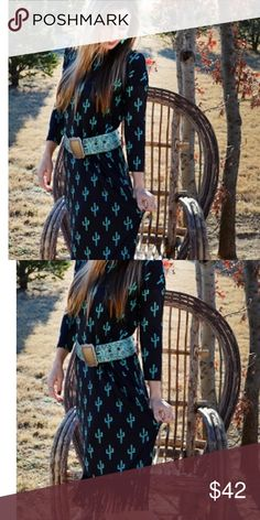 Kickin' Cactus fringe Dress This is brand new Crazy Train fringe dress Kickin' cactus print with fringe at bottom .  They are silly material and true to size 95% poly and 5% spandex. Belt is not included Crazy Train Dresses Midi