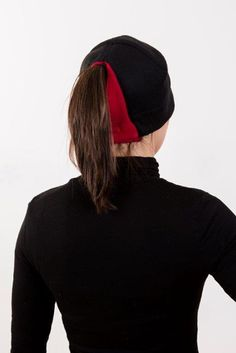 Black Red Ponytail Hat - Order today by visiting: http://www.doohat.com