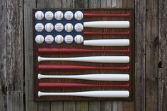 Patriotic Red White and Blue Baseball Bat & Ball American Flag Hanging Wood Wall Decor. $300.00, via Etsy. Would love to try to make myself!