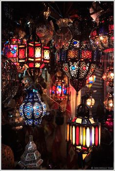 I can not explain how much I love Morrocan decor.  Colourful Morrocan lanterns in Marrakech