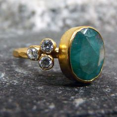 Ancient Emerald And Tria Two Side Topaz Handmade Band Ring Gold vermeil 925K Sterling Silver Free Shipping