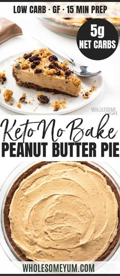No Bake Frozen Keto Low Carb Peanut Butter Pie Recipe – See how to make the most decadent keto low carb peanut butter pie! This easy, frozen no bake peanut butter pie recipe has net carbs + needs just 15 minutes prep. Source by wholesomeyum Peanut Butter Pie Recipe No Bake, Low Carb Peanut Butter, Pie Recipes, Low Carb Recipes, Dessert Recipes, Greek Recipes, Indian Recipes, Recipes Dinner, Easy Recipes