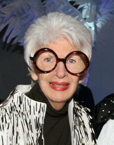 The queen of rocking giant glasses, Iris Apfel