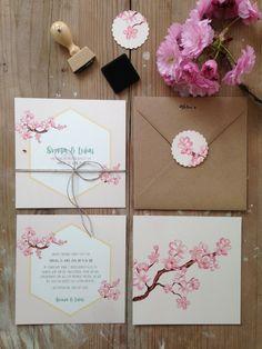 """Hochzeitseinladung """"Kirschblüten"""" Hochzeit, Einladung, Hochzeitseinladung, Vintage, Kraftpapier, Cherryblossom, Sommerhochzeit by www.zartmint.de"""