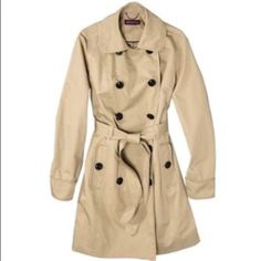 Khaki Trench Coat Khaki color trench coat. Size medium. More pics coming soon! Only worn just a few times. In excellent used condition. Only selling because I like my coats a tad more roomier. This would fit a women's size 8/10. Perfect for the spring and some light rain! Truly a wardrobe staple! Pic 3 is for style inspiration only. My price is firm and please no trades! Merona Jackets & Coats Trench Coats
