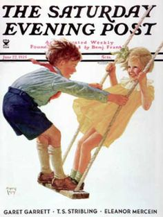 Saturday Evening Post Copyright 1935 Children On Swing